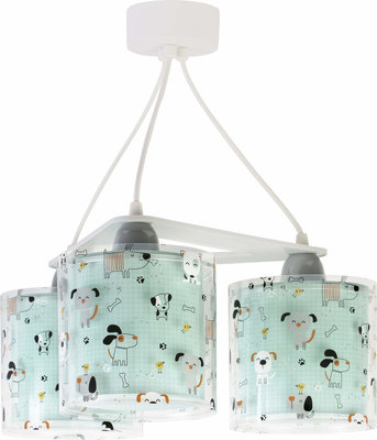 Dalber 3-lamps hanglamp Happy Dog 61314 groen