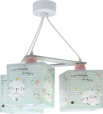 Dalber 3-lamps hanglamp Loving Cat 63324 groen