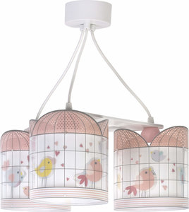 Dalber 3-lamps hanglamp Little Birds 71284 roze