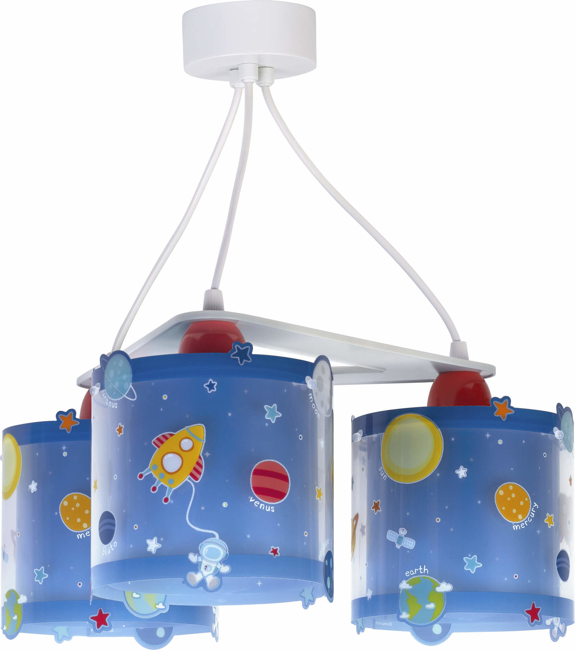 Dalber 3-lamps hanglamp Planets 41344 Blauw